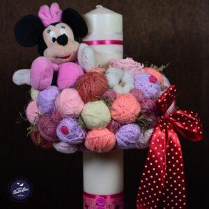 Lumânare botez pentru fetiţe cu jucărie Minnie Mouse