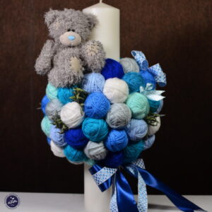 Lumânare de botez din ghemuri albastre pentru băiat