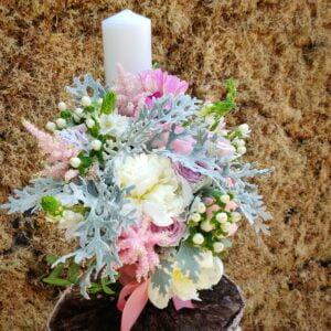 Lumânare pentru botez pentru fetiţe cu nuanţe de alb şi roz